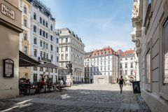 Judenplatz in jewry district in Vienna. Vienna,  Austria - August 16, 2017: Vienna,  Austria - August 16, 2017: Judenplatz  in jewry district in historical city Stock Images