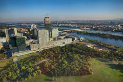 Vienna, Austria - August 19, 2012: View on skyline Uno City, out Stock Photography
