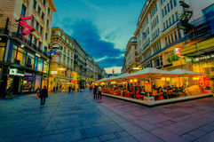 Vienna, Austria - 11 August, 2015: Walking around Singerstrasse and Graben area as evening lights set in, very charming Stock Photography