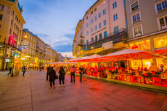 Vienna, Austria - 11 August, 2015: Walking around Singerstrasse and Graben area as evening lights set in, very charming Royalty Free Stock Image