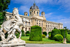 Vienna, Austria. Beautiful view of famous Naturhistorisches Museum (Natural History Museum) with park Maria-Theresien-Platz and sculpture in Royalty Free Stock Image