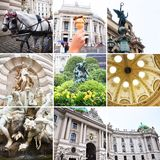 VIENNA, AUSTRIA . Collage. Vienna State Theater Burgtheater, Austria, Neue Burg, a new castle of the Hofburg Palace, Museum in Hel. Denplatz , and other stock photo