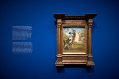 Raffael: St. George and the Dragon, 1505. VIENNA, AUSTRIA - DECEMBER, 2017: Albertina dedicating a comprehensive exhibition to the great Renaissance painter royalty free stock photo