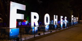 Frohes Fest sign in Vienna royalty free stock photo