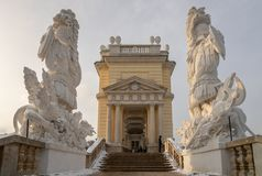 Side steps of Gloriette at the top of Schonbrunn park, Vienna
