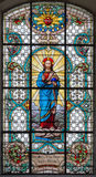 VIENNA, AUSTRIA - DECEMBER 19, 2016: The Heart of Jesus on the stained glass of church Mariahilfer Kirche royalty free stock photo