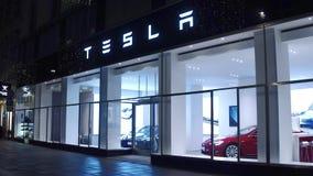 VIENNA, AUSTRIA - DECEMBER, 24 Innovative Tesla showroom at night Royalty Free Stock Images