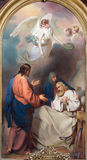 VIENNA, AUSTRIA - DECEMBER 19, 2016: The painting of Death of St. Joseph in church kirche St. Laurenz Royalty Free Stock Images