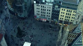 VIENNA, AUSTRIA - DECEMBER, 24, 2016 Saint Stephen`s cathedral square and Christmas tree, top view. Popular tourist. Destination Stock Photography