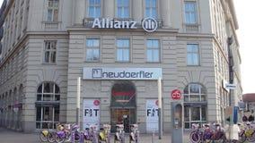VIENNA, AUSTRIA - DECEMBER, 24, 2016. Steadicam shot of Allianz office and city bike rental station. 4K video stock footage
