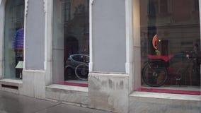VIENNA, AUSTRIA - DECEMBER, 24, 2016 Steadicam shot of luxury electic bikes store. 4K video stock footage