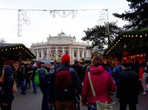 Traditional Christmas marke near gothic building of Vienna city hall Rathaus Stock Photography