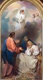VIENNA, AUSTRIA - 19 DICEMBRE 2016: La pittura della morte di St Joseph in st Laurenz del kirche della chiesa immagini stock libere da diritti