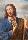 VIENNA, AUSTRIA - 19 DICEMBRE 2014: Pittura del san Jude Thaddeus dell'apostolo in st Laurenz di Kirche della chiesa fotografia stock libera da diritti