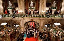 Vienna Opera Ball. VIENNA, AUSTRIA - Feb 09: Vienna Opera Ball is an annual Austrian society event which takes place in the building of the Vienna State Opera in stock images