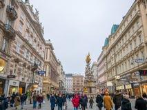 VIENNA, AUSTRIA 17 FEBBRAIO 2018: Lle viste di paesaggio urbano di una del ` s di Europa la maggior parte di bella città immagine stock