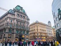 VIENNA, AUSTRIA 17 FEBBRAIO 2018: Lle viste di paesaggio urbano di una del ` s di Europa la maggior parte di bella città immagini stock libere da diritti