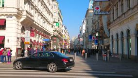 Shopping street in old Vienna, Austria stock video footage