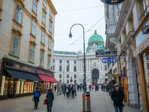 VIENNA, AUSTRIA - FEBUARY 17, 2018: Around Hofburg Imperial Palace the almost famous in Vienna, Austria. stock photo