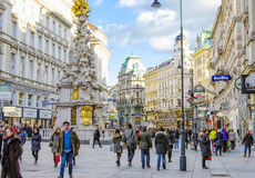 VIENNA, AUSTRIA, Graben street. VIENNA - FEBRUARY 14: people walk on Graben street,  on Feb 14, 2014 in Vienna Austria Royalty Free Stock Images