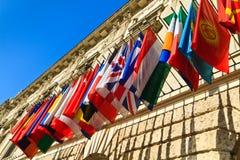 Vienna, Austria - insieme del international delle bandierine Fotografie Stock Libere da Diritti