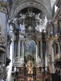 Vienna, Austria-29.07.2018: interior of St. Peter Peterskirche Church, Baroque Roman Catholic parish Church in Vienna, Austria. Inspired by St. Peter`s stock images