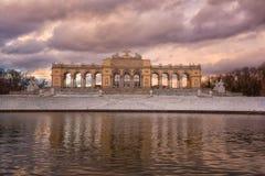 Vienna, Austria - Januar 03, 2019: Gloriette in the Schonbrunn Palace in winter, beautiful color sunrise royalty free stock photos