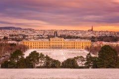 Vienna, Austria - Januar 03, 2019: Schonbrunn Palace in winter, beautiful color sunrise stock photo