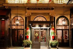 VIENNA, AUSTRIA - JANUARY 9, 2019: Entrance of the famous Hotel Sacher royalty free stock photography