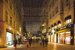 Vienna, Austria - January 07, 2017: Famous main Graben street in Vienna is decorated for Christmas season royalty free stock photo