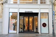VIENNA, AUSTRIA - JANUARY 8, 2019: A front exterior view of the Chanel store in Vienna main street, Austria royalty free stock images