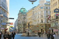 VIENNA, AUSTRIA - JANUARY 8, 2019: Graben, a famous pedestrian street of Vienna with a Plague Column, Austria stock images