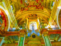Vienna, Austria - January 02, 2015: The interior of the beautiful Jesuit Church or Jesuitenkirche, a two-floor, double. Tower church in Vienna, Austria Royalty Free Stock Photos