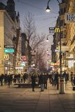 Kartner Strasse at dusk. Vienna, Austria 24 January 2018: Kartner Strasse, the main pedestrian street is the shopping center of Vienna in Austria, shot during Stock Photos