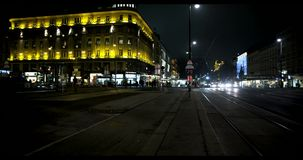 VIENNA, AUSTRIA, January 2014 - tram and cars at night stock video