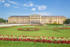VIENNA, AUSTRIA - JULY 30, 2014: The Schonbrunn palace and gardens Stock Image