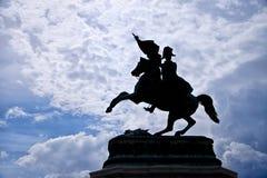 VIENNA, AUSTRIA - JULY 27, 2010: Black silhouette of cavalier on Stock Image