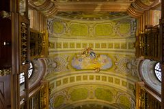 Ceiling frescoes painting, allegory of peace and heaven by Daniel Gran at Austrian National Library in Vienna, Austria. VIENNA, AUSTRIA - JULY 2018 : Ceiling stock photos