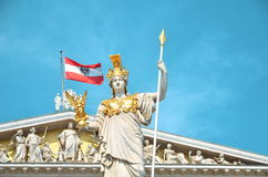 Vienna, Austria - July 26, 2014: Detail of Athena Fountain in front of Austrian Parliament Building in Vienna. Stock Images