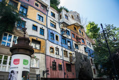 VIENNA, AUSTRIA - JULY 29, 2016: Hundertwasserhaus. A famous building at the center of Vienna, Austria Royalty Free Stock Image