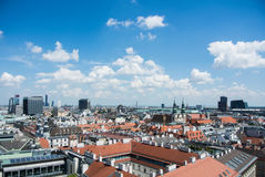 VIENNA, AUSTRIA - JULY 29, 2016: Panoramic view to Vienna city center. From St. Stephen`s Cathedral tower on summer sunny day Royalty Free Stock Photos