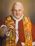 VIENNA, AUSTRIA - JULY 30, 2014: The portrait of St. John XXIII in church Karlskirche Charles Borromeo by Clemens Fuchs 2014 stock images