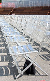 VIENNA, AUSTRIA - JULY 27, 2014:Rows of empty metal chair seats installed for annual film festival near Rathaus in Vienna, Austria Royalty Free Stock Image