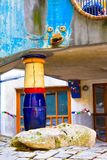 VIENNA, AUSTRIA - JULY 31, 2014: VIENNA, AUSTRIA - JULY 31, 2014: view of famous Hundertwasser house in Vienna, Austria. Apartment Royalty Free Stock Photos