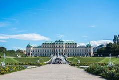 VIENNA, AUSTRIA - JULY 29, 2016: A view of palace Belvedere in Vienna. Austria and its garden on sunny summer day Stock Photos