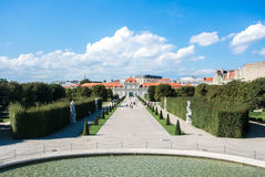 VIENNA, AUSTRIA - JULY 29, 2016: A view of palace Belvedere in Vienna. Austria and its pond and garden on sunny summer day Stock Photo