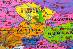 Vienna Austria map. Vienna in Austria pinned on colorful political map of Europe. Geopolitical school atlas Royalty Free Stock Photo