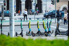 VIENNA, AUSTRIA - MAY 26: Modern city transport - rent electric scooters by Wind, Bird, Tier and Flash is parked on the street of. The city. in Vienna, Austria stock photos