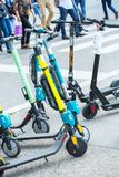 VIENNA, AUSTRIA - MAY 26: Modern city transport - rent electric scooters by Wind, Bird, Tier and Flash is parked on the street of. The city. in Vienna, Austria royalty free stock photo