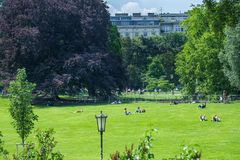 VIENNA, AUSTRIA - MAY 26: People are resting and relaxing in popular public Burggarten park in warm sunny day in Vienna, Austria,. On May 26, 2019, beautiful royalty free stock photos